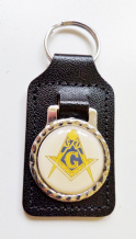 "Square & Compasses with ""G"" Black Leather Masonic Key Fob - K068"